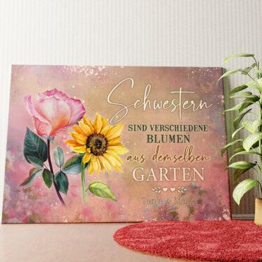 Personalisiertes Wandbild Blumenschwestern