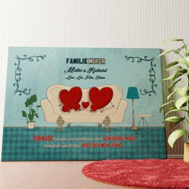 Personalisiertes Wandbild Zuhause mit Herz